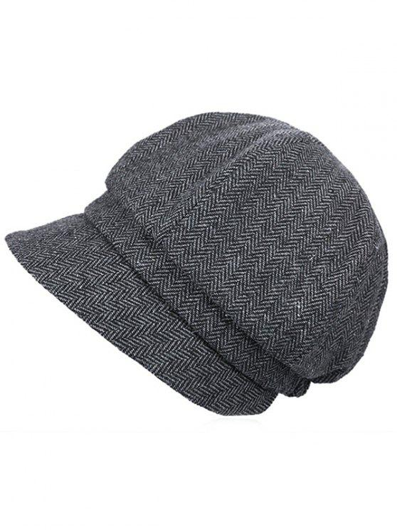 ladies Elegant Herringbone Pattern Newsboy Cap - GRAY
