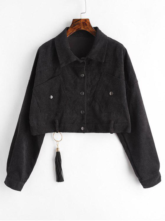 hot Cropped Snap Button Corduroy Jacket - BLACK ONE SIZE