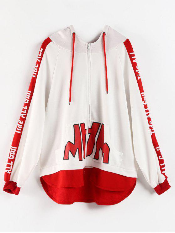 affordable High Low Graphic Zip Up Hoodie - WHITE L
