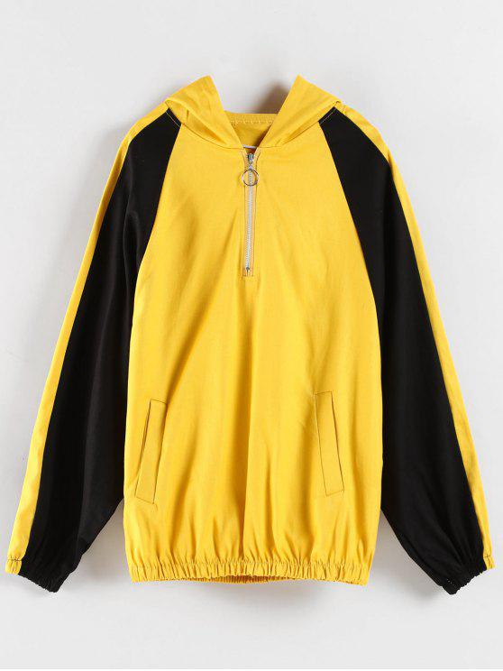 lady Color Block Graphic Boyfriend Hoodie - YELLOW M
