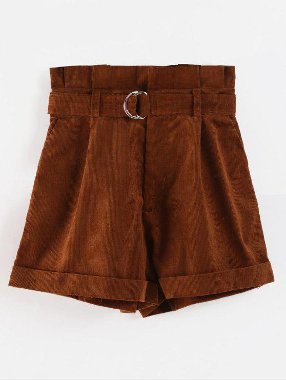 Belted High Waisted Paperbag Shorts - Kaffee L