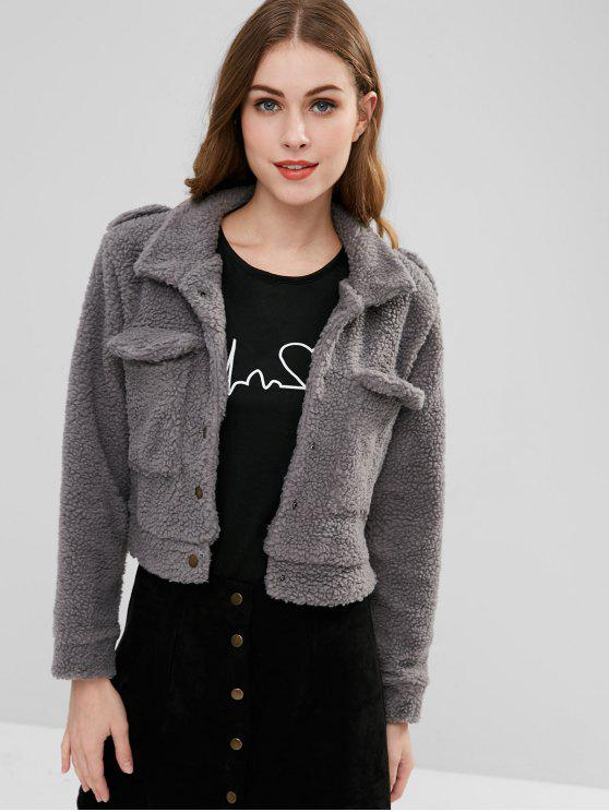 latest Snap Button Faux Shearling Coat - BATTLESHIP GRAY ONE SIZE