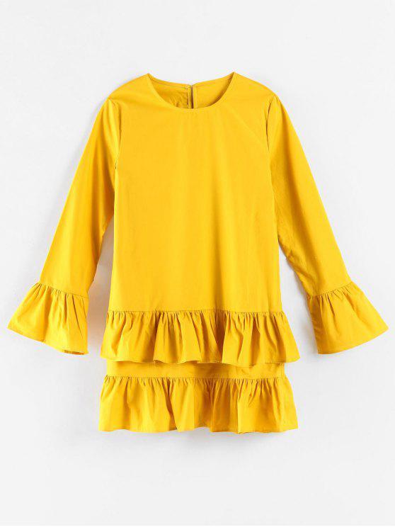 Tiered Langarm-Minikleid - Helles Gelb M