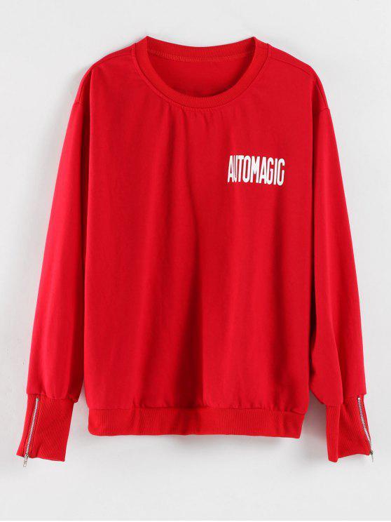 Rundhalsausschnitt Letter Print Graphic Sweatshirt - Rot XL