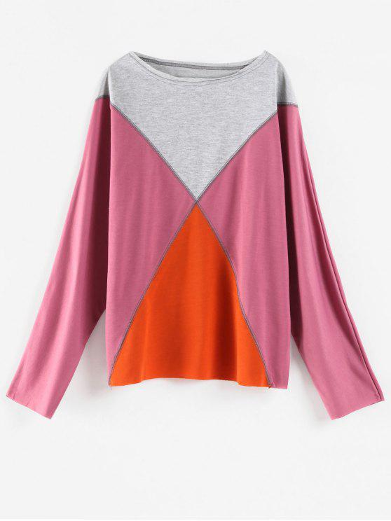 Farbblock übergroßes T-Shirt - Rosa XL