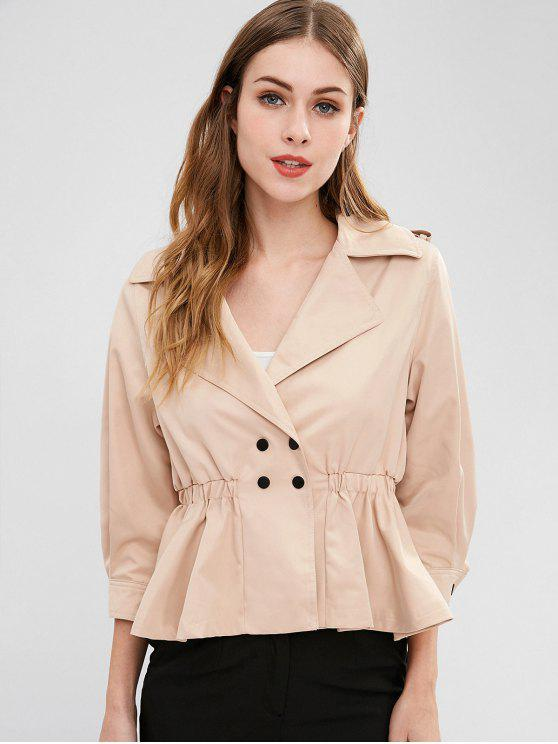 women's Snap-button Trench Coat - LIGHT KHAKI S