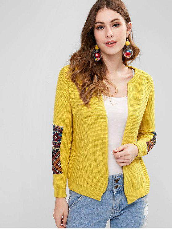 online Print Patch Open Front Cardigan - YELLOW ONE SIZE