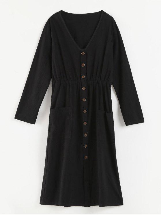 V-Ausschnitt Knöpfe verziert Kleid - Schwarz L