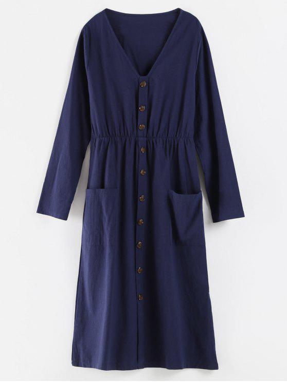 ladies V Neck Buttons Embellished Dress - CADETBLUE L