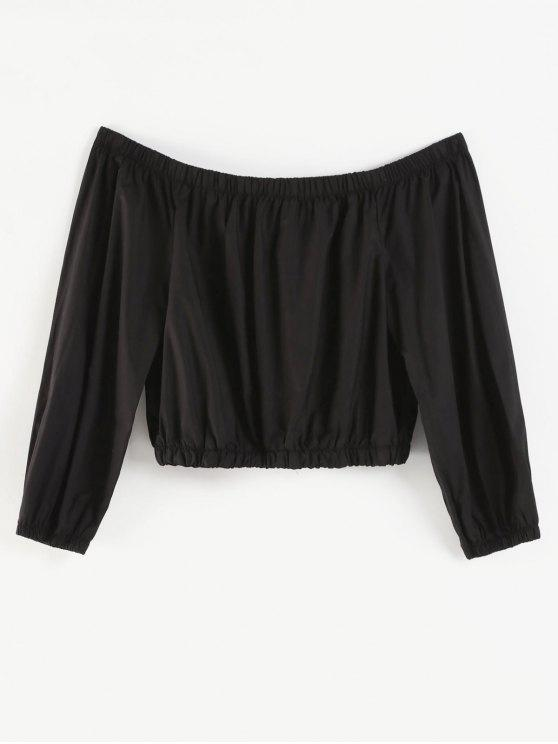 women Plus Size Off Shoulder Crop Jacket - BLACK 1X