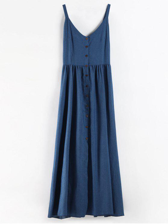 78eec3b1 29% OFF] 2019 Plus Size Button Up Chambray Maxi Dress In BLUE | ZAFUL
