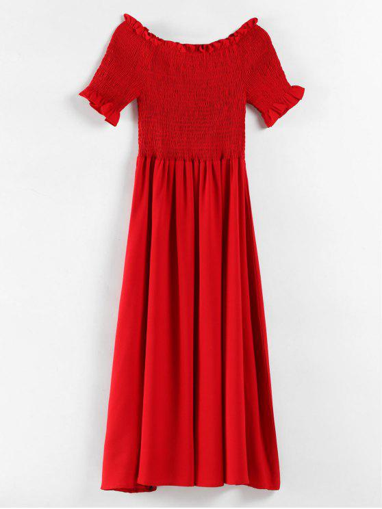 Plus Size Rüschen Smoked Dress - Rot 3X