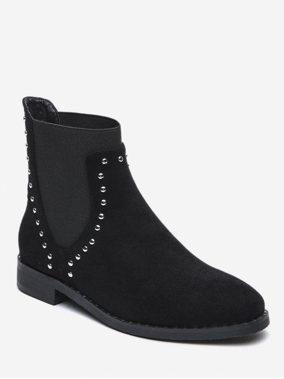 chic Stud Decorative Suede Ankle Boots - BLACK EU 40