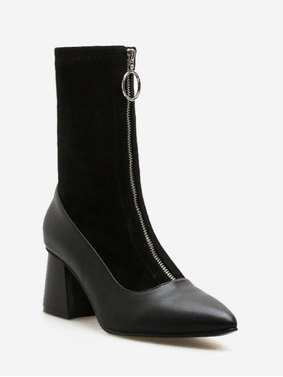 womens Chunky Heel Pointed Toe Zip Front Boots - BLACK EU 36