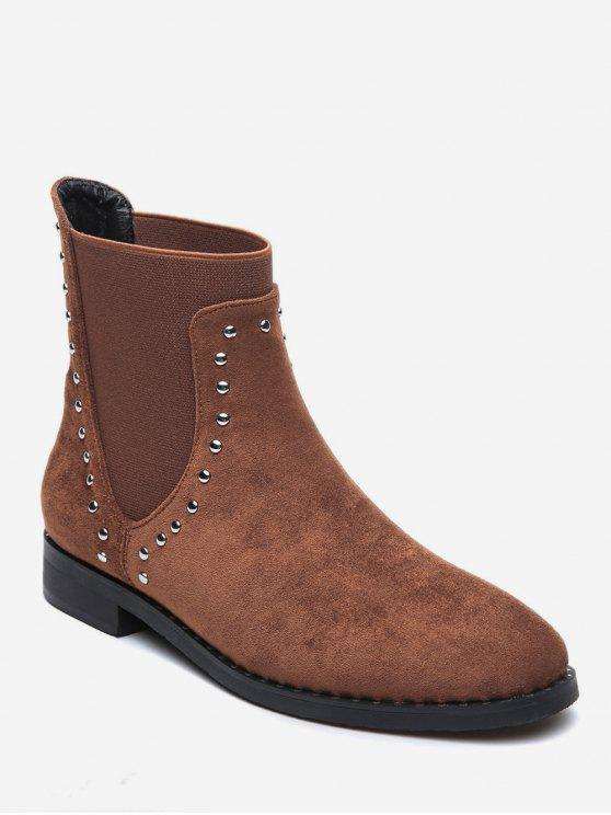 outfit Stud Trim Round Toe Chelsea Ankle Boots - BROWN EU 38