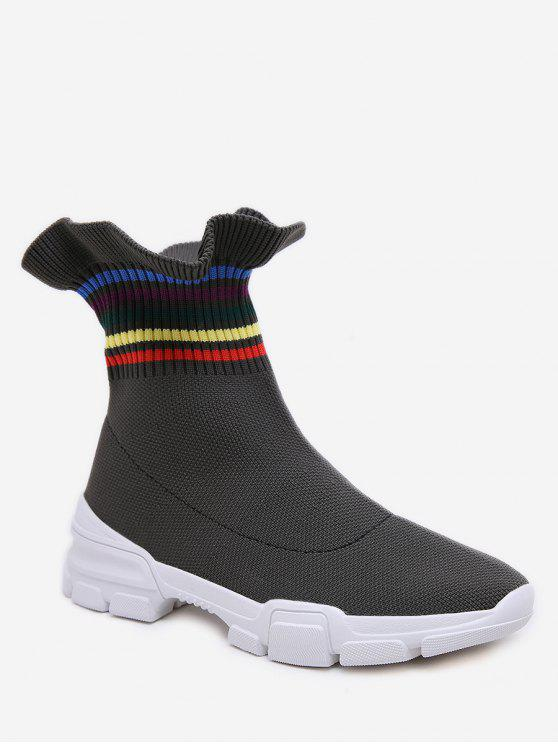 Rainbow Striped Volants Ankle Boots - Armeegrün EU 40