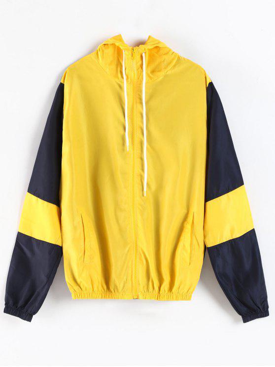 Color Block Kapuzenjacke mit Reißverschluss - Gelb M
