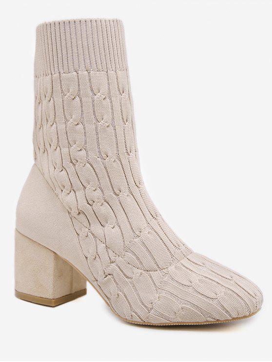 best Cable Knit Chunky Heel Short Boots - WARM WHITE EU 36