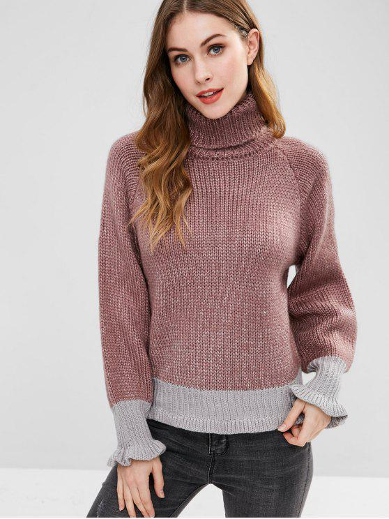 hot Turtleneck Color Block Chunky Sweater - MULTI-A ONE SIZE