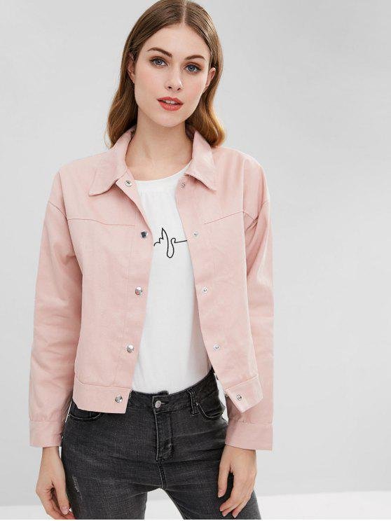 fashion Snap Button Floral Embroidered Jacket - LIGHT PINK ONE SIZE