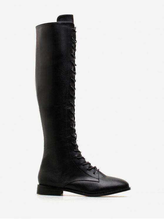 best PU Leather Lace Up Knee High Boots - BLACK EU 38