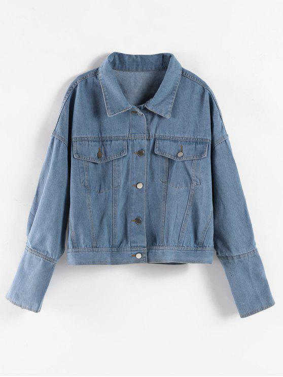 Drop Shoulder-Knopf-oben Jeansjacke - Denim Blau Eine Größe