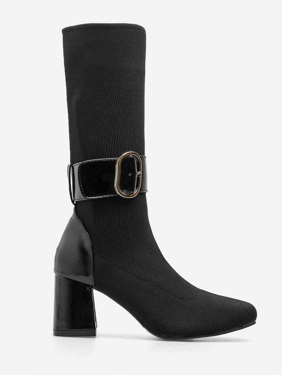 shops Buckle Strap Block Heel Mid Calf Boots - BLACK EU 36