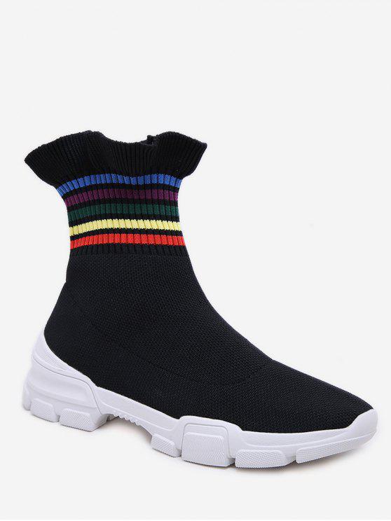 多色條紋荷葉下擺休閒襪靴 - 黑色 歐盟36