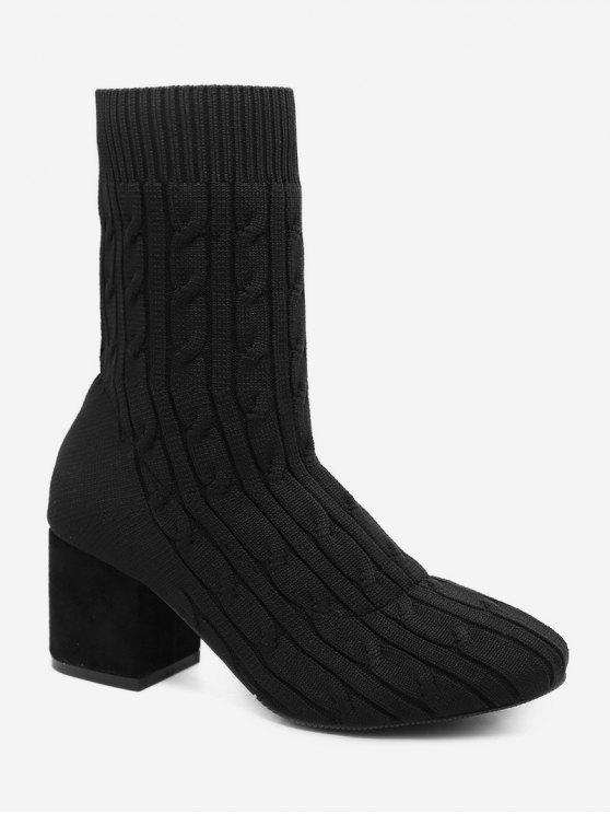 ladies Cable Knit Chunky Heel Short Boots - BLACK EU 36