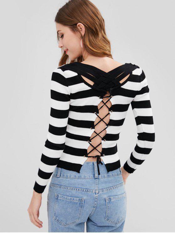 latest Stripe Back Lace Up Sweater - MULTI-A ONE SIZE
