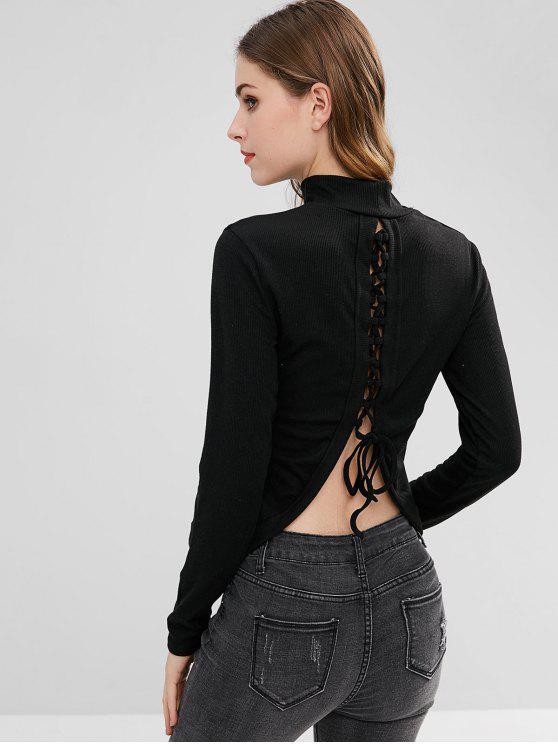 fashion Mock Neck Split-Back Lace Up Knitwear - BLACK M
