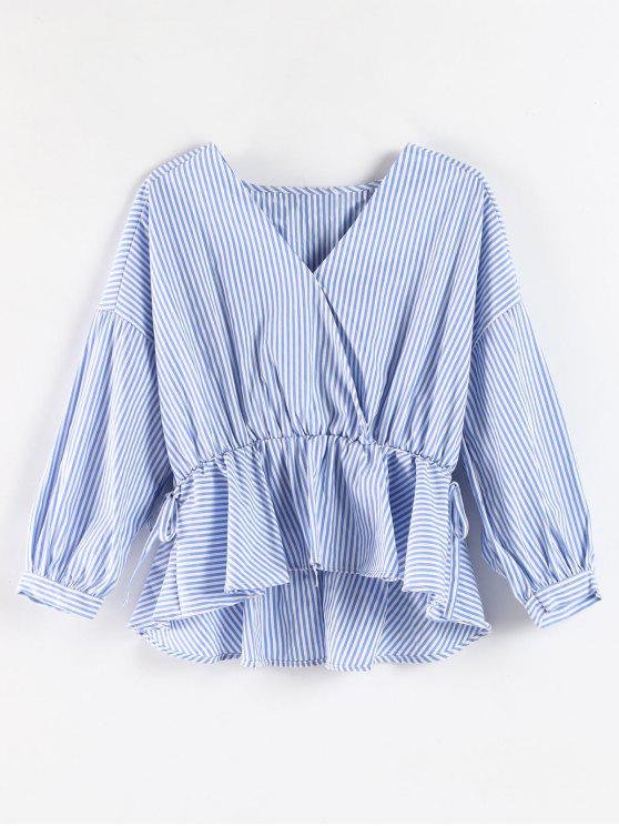 unique Striped Surplice Peplum Blouse - DENIM BLUE M