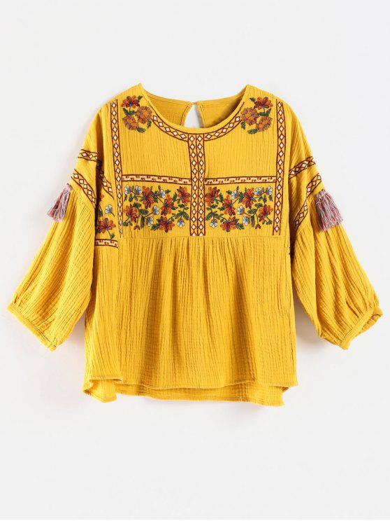 9b420600248c36 32% OFF  2019 Flower Embroidered Tassel Blouse In SUN YELLOW