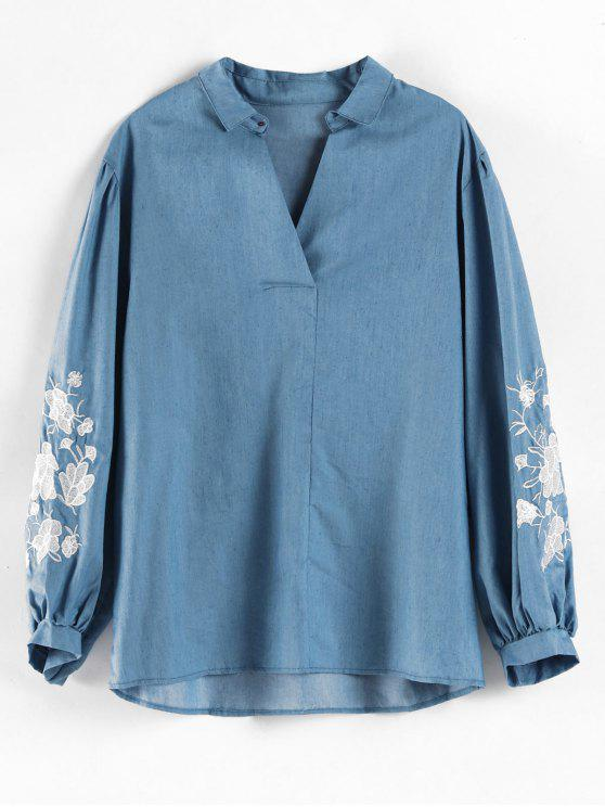 online Plus Size Embroidered V Neck Top - BLUE 1X
