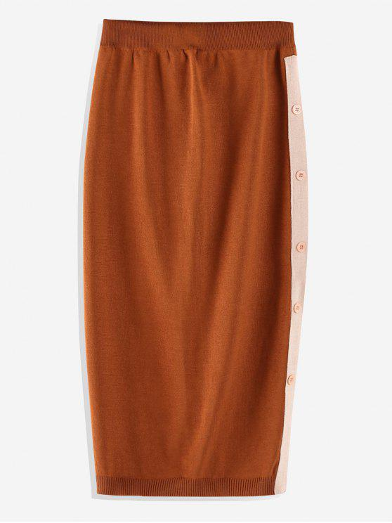 Knopf verzierter Strickrock - Kastanie Eine Größe