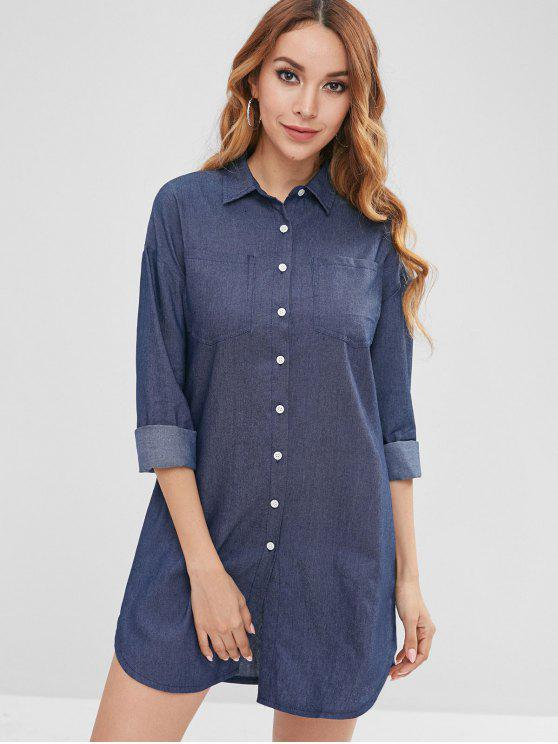 women's Button Front Pockets Shirt Dress - DENIM DARK BLUE M