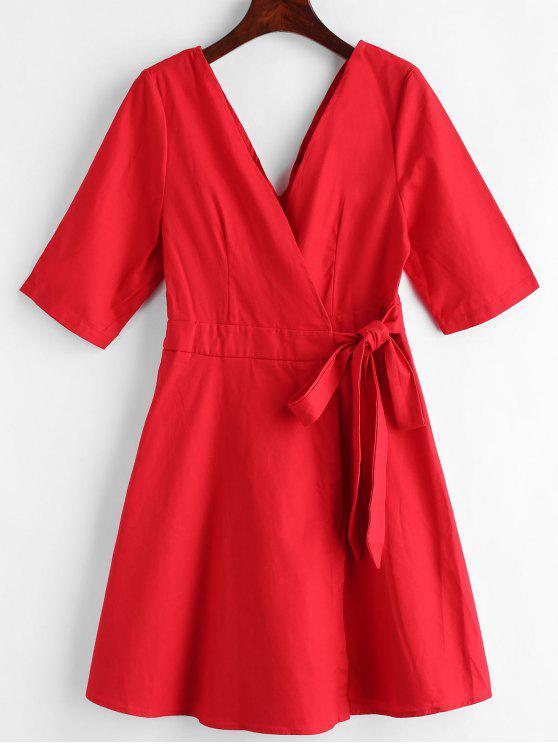 Robe Enveloppée Tressée Nouée - Rouge L