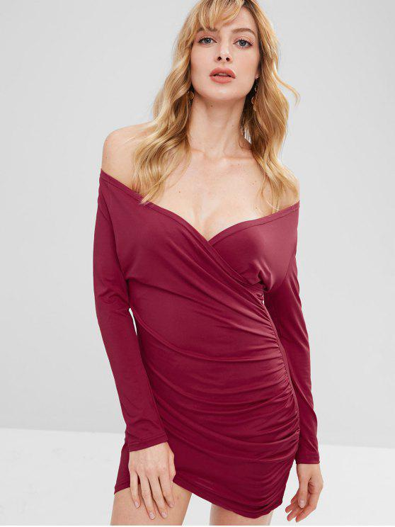 ladies Crossover Ruched Long Sleeve Bodycon Dress - RED WINE S
