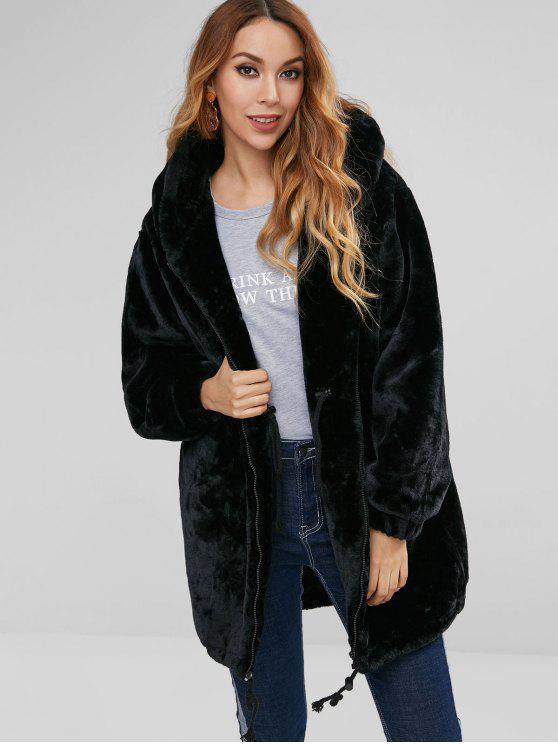 Manteau en Fausse Fourrure Taille à Cordon - Noir L