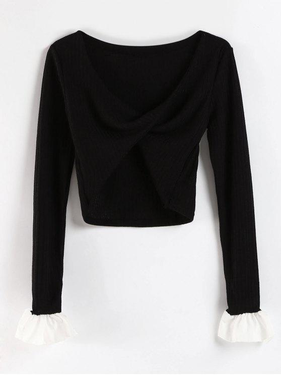 affordable Cowl Neck Knitted Bell Sleeve Tee - BLACK S