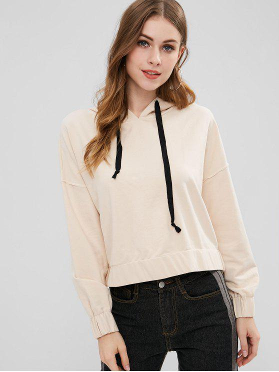 fancy Dropped Shoulder Hoodie - CHAMPAGNE M