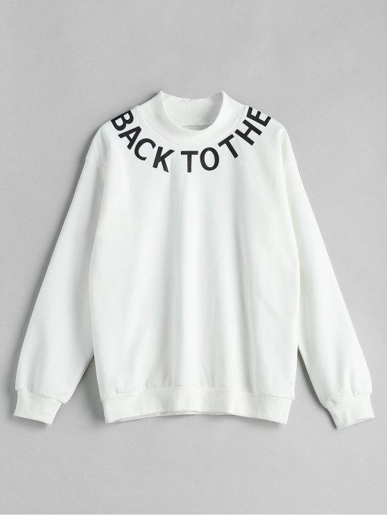 women Mock Neck Graphic Sweatshirt - WHITE XL