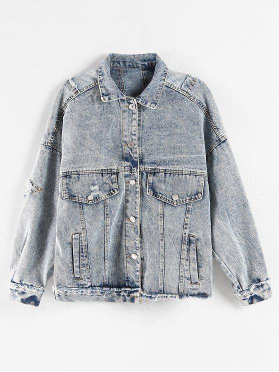 outfit Bleach Wash Ripped Denim Jacket - MIST BLUE XL