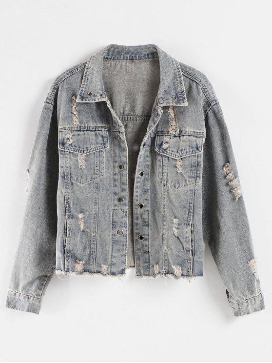 shop Frayed Hem Ripped Pocket Jean Jacket - MIST BLUE XL