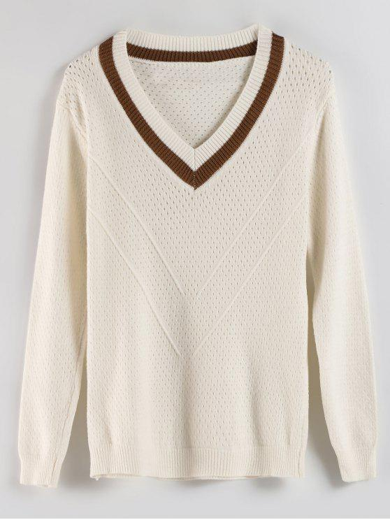 fancy V Neck Openwork Sweater - WARM WHITE ONE SIZE