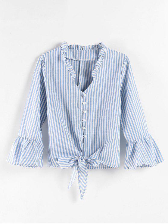 Blusa con nudo de rayas - Azul Claro L