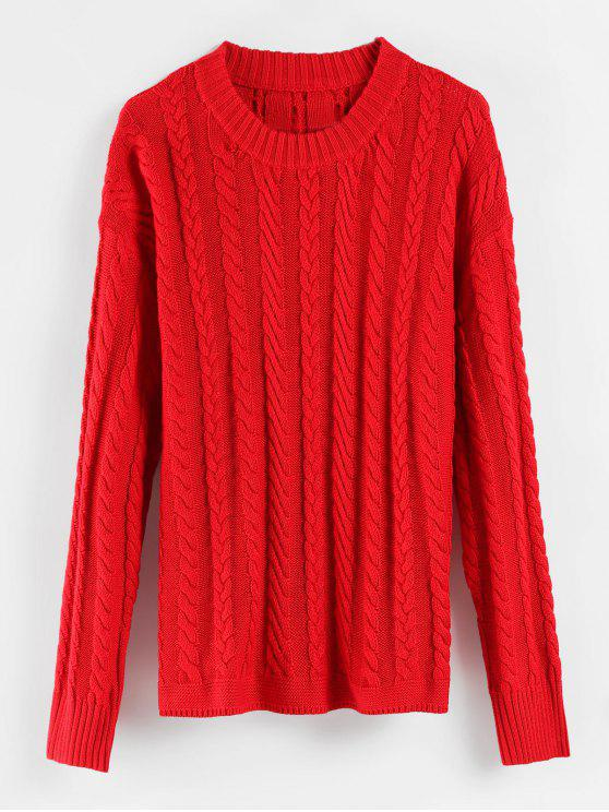women's Cable Knit Drop Shoulder Sweater - RED ONE SIZE