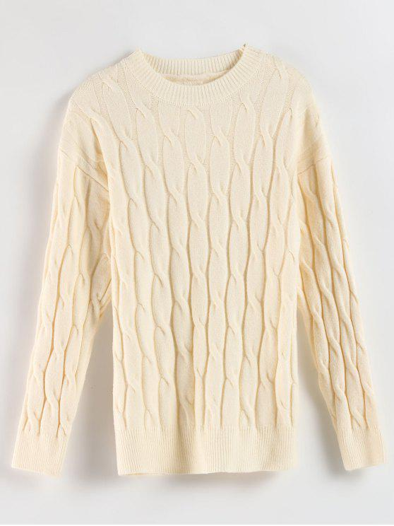 ladies Drop Shoulder Cable Knit Sweater - CRYSTAL CREAM ONE SIZE