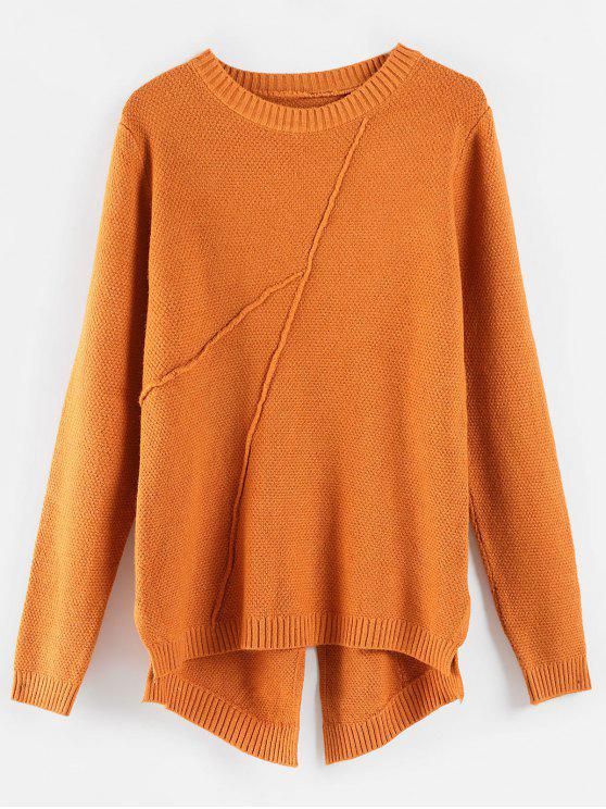 best Textured High Low Slit Sweater - ORANGE SALMON ONE SIZE