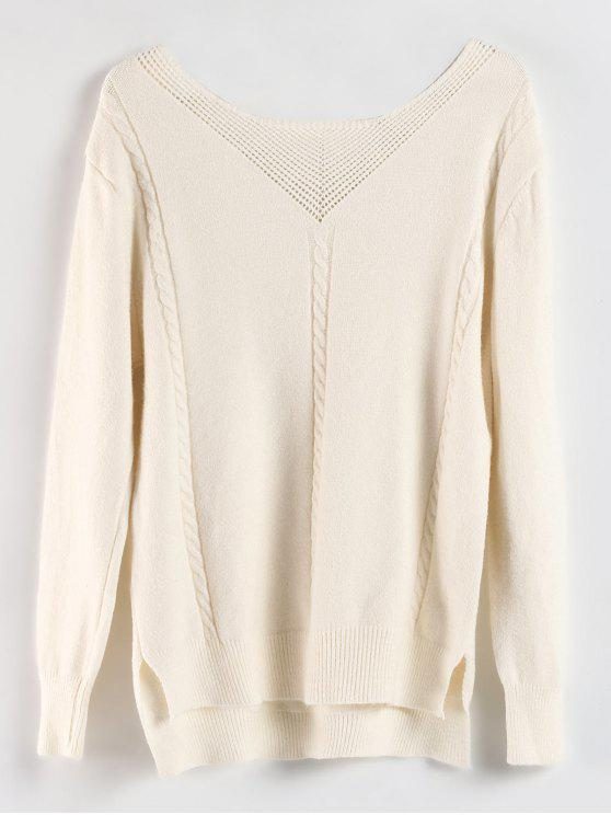online Lace Up High Low Slit Sweater - CRYSTAL CREAM ONE SIZE